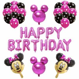 Minnie Mouse ballon set ROZE HAPPY BIRTHDAY (32-delig)