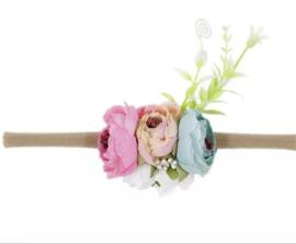 Haarband bloemen pink/blue