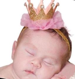 Luxe haarband kroon goud/roze pareltjes