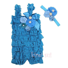 Jumpsuit Luxe Peacock Blauw + haarband