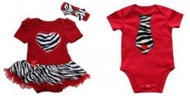 Tweeling kleding Zebra. Jurk + haarband + jongens romper