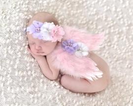 Newborn engelen vleugels roze/lavendel + haarband