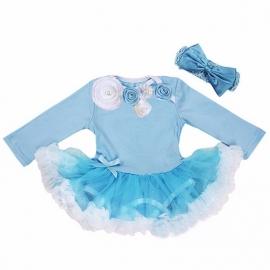Babyjurk luxe bloemen blauw lang/korte mouw + haarband