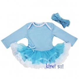 Babyjurk blauw lang/korte mouw + haarband