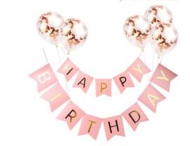 Vlaggenslinger - Happy Birthday - Rose/goud-5 ballonnen