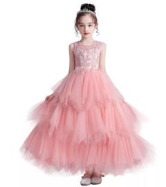 Lange romantisch jurk en tule mellow rose