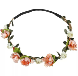 Haarband bloemen perzik