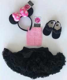 Babyset zwart-roze+diadeem (4 delig)