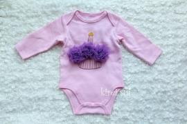 Baby romper roze Cupcake paars lange mouw