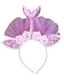 Diadeem zeemeerminstaart paars bloemen