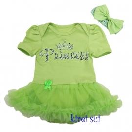 Babyjurk Princes groen + haarband (62-68)