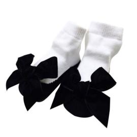 Baby sokjes zwart strik (12-24 mnd)