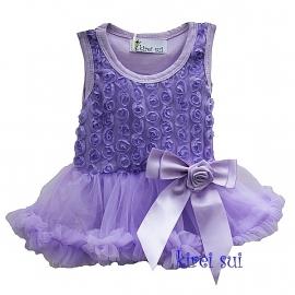 Jurk met roosjes violet, lange/zonder mouw