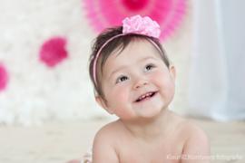 Haarband satijn rozet roze