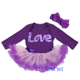 Babyjurk Love paars lang/korte mouw + haarband