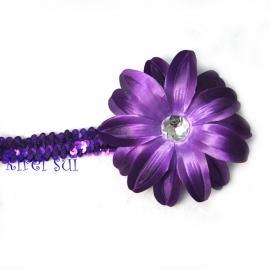 Haarband glitter paars bloem