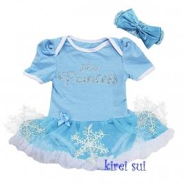 Jurk Prinses Elsa met sneeuwvlokken + haarband