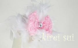 Haarband veren strik wit/roze