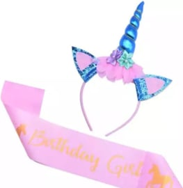 Sjerp unicorn, Birthday Girl roze + diadeem unicorn blauw