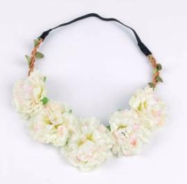 Haarband bloemen beige