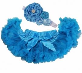 Pettiskirt Pauwblauw + haarband