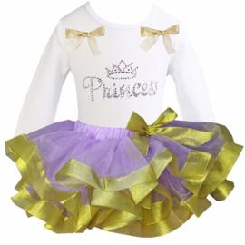 Tutu Satijn set Princess glitter lang/korte mouw lavendel