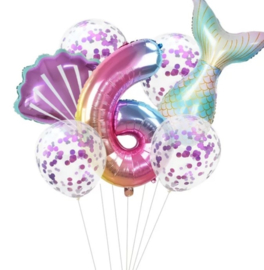 Zeemeermin ballonnenset 6 jaar