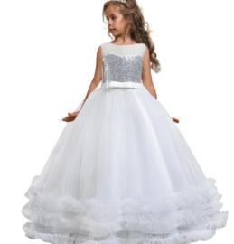 Elegante jurk wit met zilveren top