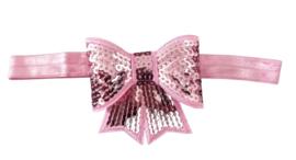 Haarband strik groot, roze