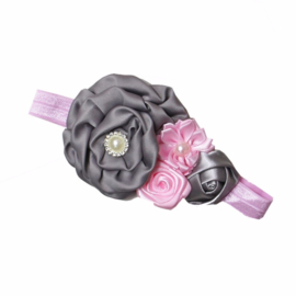 Haarband grijs/roze