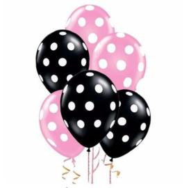 Minnie Mouse Balonnen 2 roze/3 zwart - 5 stuks