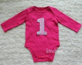 Baby romper pink 1 jaar lange mouw