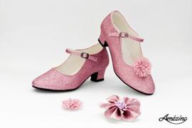 Prinses schoenen ROZE GLITTER + 2 gratis bloemclips en 1 haarbloem
