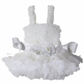 Feestelijke kinderjurk wit + luxe riem (mt. 98/104)