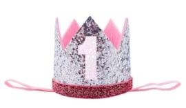 Haarband kroon zilver glitter 1 jaar *