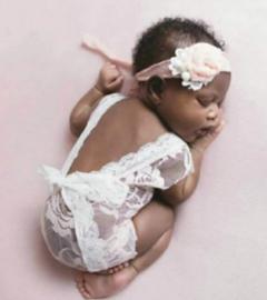 Newborn kanten pakje wit *