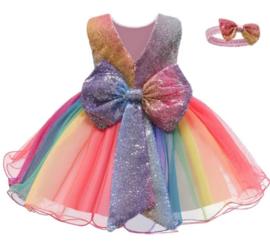 Feestjurk regenboog tule + haarband