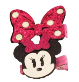 Minnie Mouse pink + strik haarclip (2-stuks)