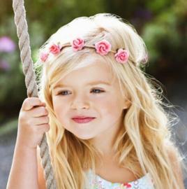 Haarband bloemen roze/groen