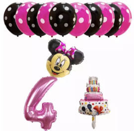 Minnie Mouse ballon set ROZE 4  jaar (13-delig)