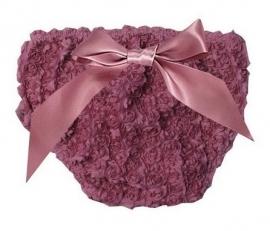 Luierbroekje roosjes vintage paars met strik