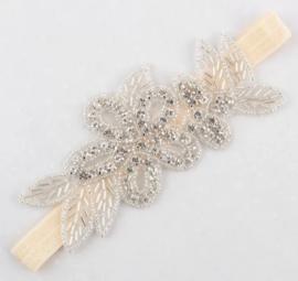 Luxe haarband crystal steentjes, beige