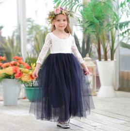 Romantisch jurk Charlotte marineblauw