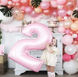 Folie Ballon cijfer 2 - roze
