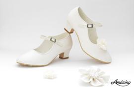 Prinses schoenen IVOOR GLITTER + 2 gratis bloemclips en 1 haarbloem
