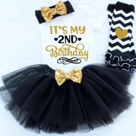 Verjaardagset It's my 2nd Birthday zwart(4-delig)