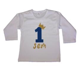 Shirt jongen getal 1 t/m 5 blauw-goud met naam