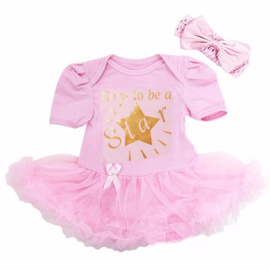 Babyjurk Born to be a Star roze lang/korte mouw + haarband