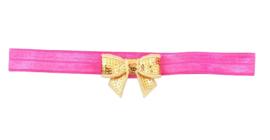 Haarband strik klein, pink/goud
