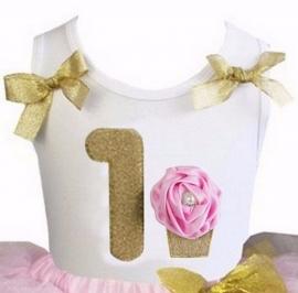 Top 1 jaar glitter goud roze cupcake
